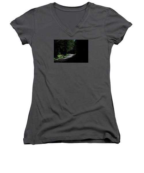 Woods, Road And The Darkness Women's V-Neck T-Shirt (Junior Cut) by John Rossman