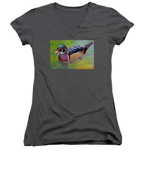 Woody Women's V-Neck T-Shirt (Junior Cut) by Larry Nieland