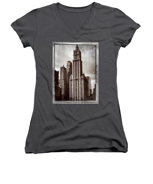 Woolworh Building 2008. Women's V-Neck T-Shirt