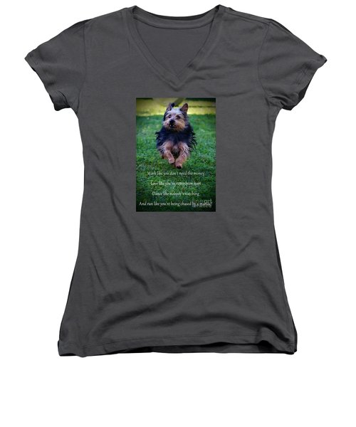 Words To Live By Women's V-Neck (Athletic Fit)