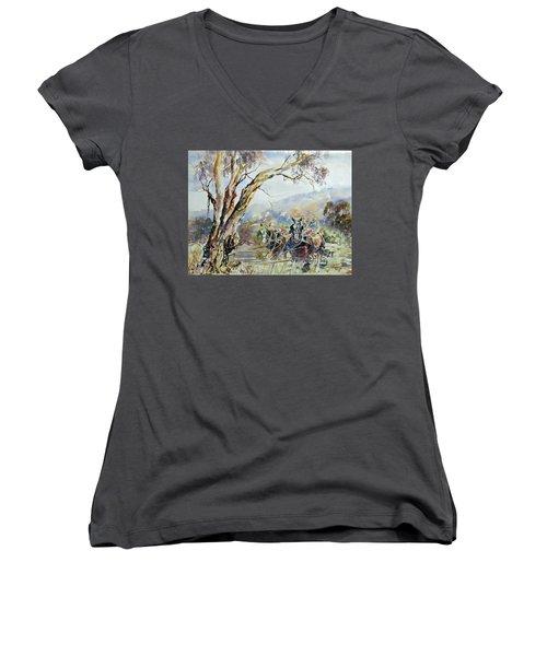 Working Clydesdale Pair, Australian Landscape. Women's V-Neck