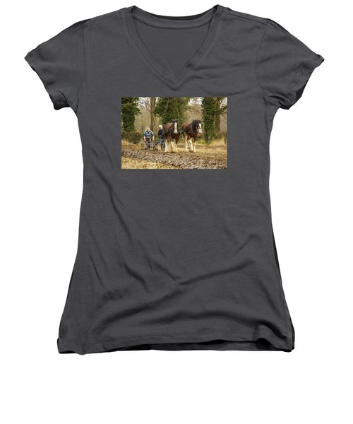 Working Horses Women's V-Neck T-Shirt (Junior Cut) by Roy McPeak