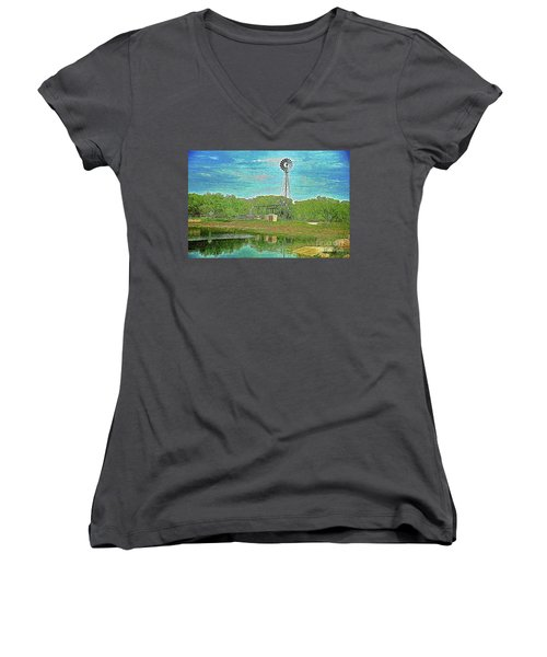 Women's V-Neck T-Shirt (Junior Cut) featuring the photograph Working Windmill  by Ray Shrewsberry