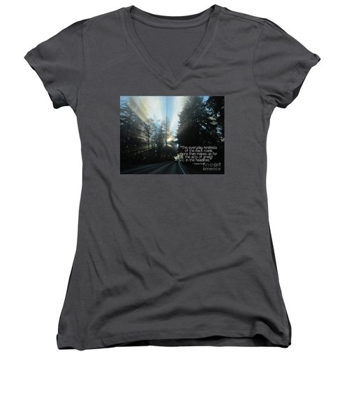 Women's V-Neck T-Shirt featuring the photograph World Kindness Day by Peggy Hughes