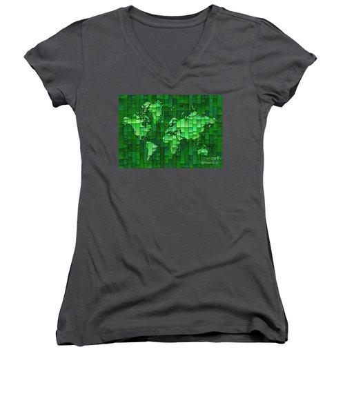 World Map Glasa Green Women's V-Neck T-Shirt