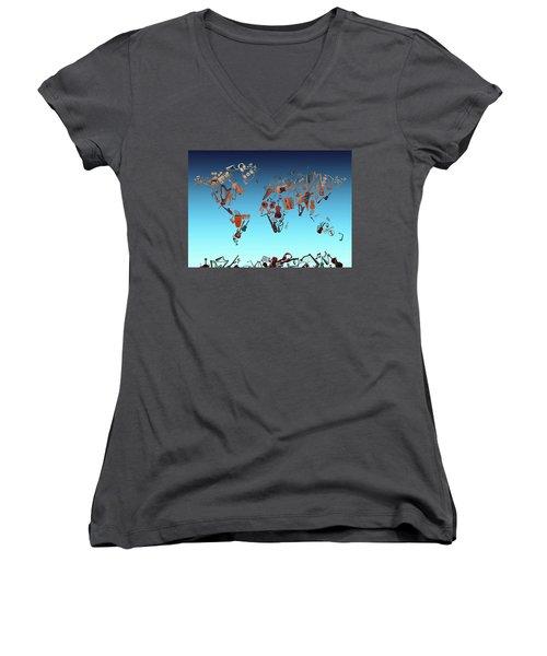 Women's V-Neck T-Shirt (Junior Cut) featuring the digital art World Map Music 6 by Bekim Art