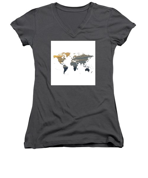 World Map - Ocean Texture Women's V-Neck