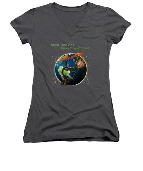 World Needs Tree Women's V-Neck T-Shirt (Junior Cut) by Artist Nandika  Dutt