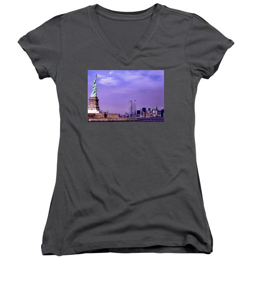World Trade Center Twin Towers And The Statue Of Liberty  Women's V-Neck (Athletic Fit)