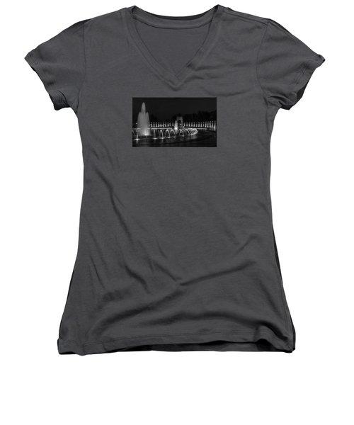 World War II Memorial Women's V-Neck T-Shirt (Junior Cut) by Ed Clark