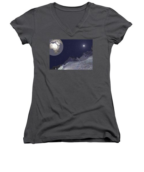 Women's V-Neck T-Shirt (Junior Cut) featuring the digital art 1657 - Worlds - 2017 by Irmgard Schoendorf Welch