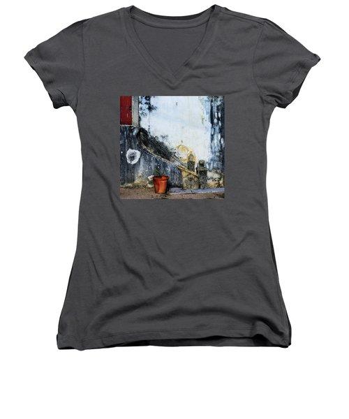 Worn Palace Stairs Women's V-Neck T-Shirt