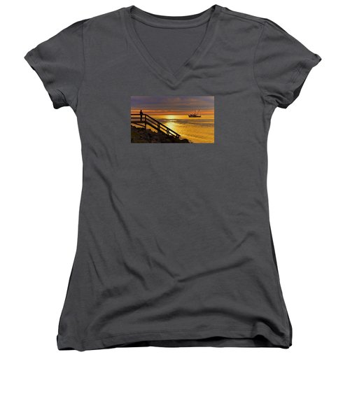 Worth Gettin Up For Women's V-Neck T-Shirt (Junior Cut) by Laura Ragland
