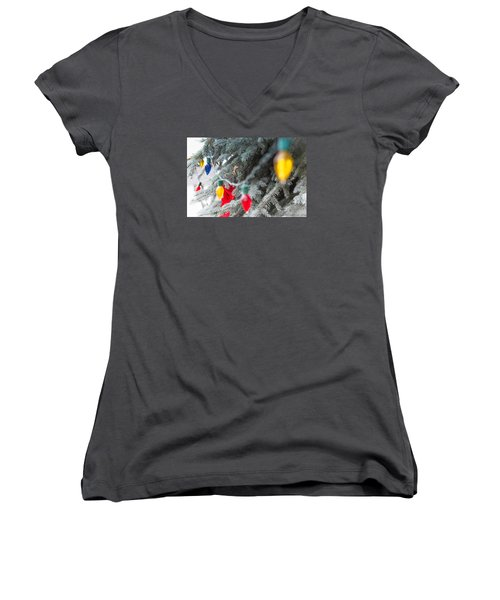 Women's V-Neck T-Shirt (Junior Cut) featuring the photograph Wrap A Tree In Color by Lora Lee Chapman