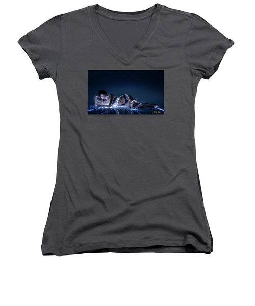 Women's V-Neck T-Shirt featuring the photograph Wrapped In Light by Rikk Flohr