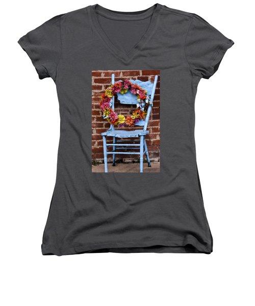 Women's V-Neck T-Shirt (Junior Cut) featuring the photograph Wreath In A Chair by Joan Bertucci