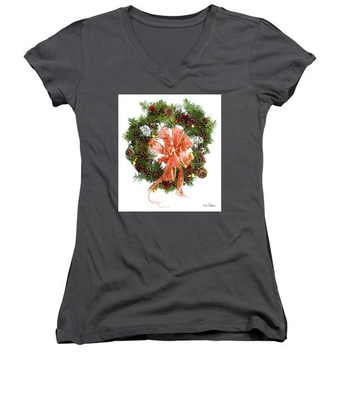 Women's V-Neck T-Shirt (Junior Cut) featuring the digital art Wreath With Bow by Lise Winne