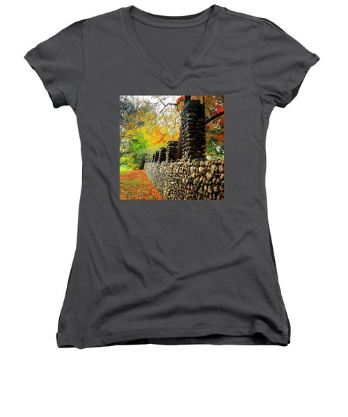 Wright Park Stone Wall In Fall Women's V-Neck (Athletic Fit)
