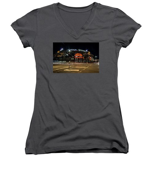 Wrigley Field Marquee At Night Women's V-Neck