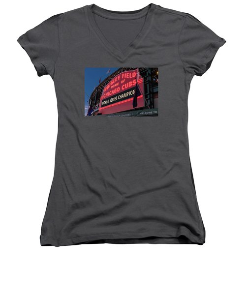 Wrigley Field World Series Marquee Women's V-Neck T-Shirt
