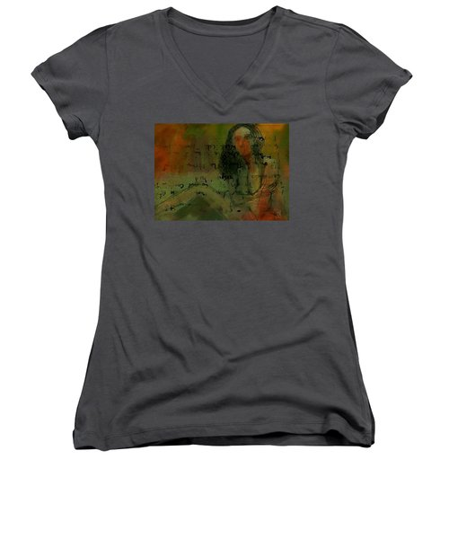 Women's V-Neck T-Shirt (Junior Cut) featuring the painting Written Out by Jim Vance