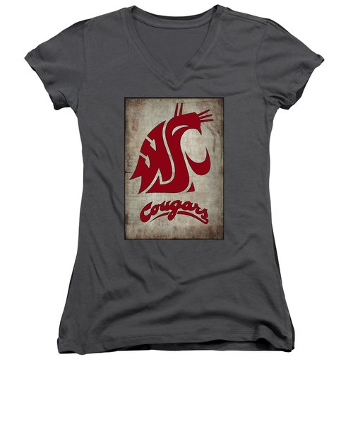 W S U Cougars Women's V-Neck (Athletic Fit)
