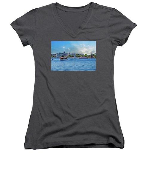Yacht And Beach Club Walt Disney World Women's V-Neck T-Shirt (Junior Cut) by Thomas Woolworth