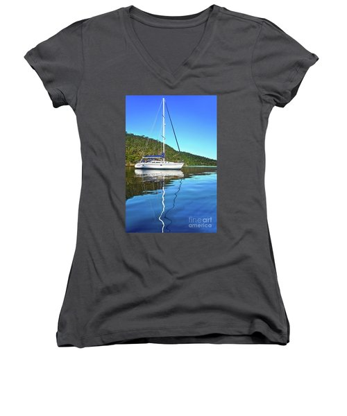 Women's V-Neck T-Shirt featuring the photograph Yacht Reflecting By Kaye Menner by Kaye Menner