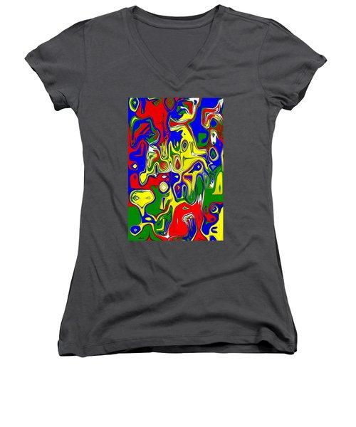 Women's V-Neck T-Shirt (Junior Cut) featuring the digital art Yage by Maciek Froncisz
