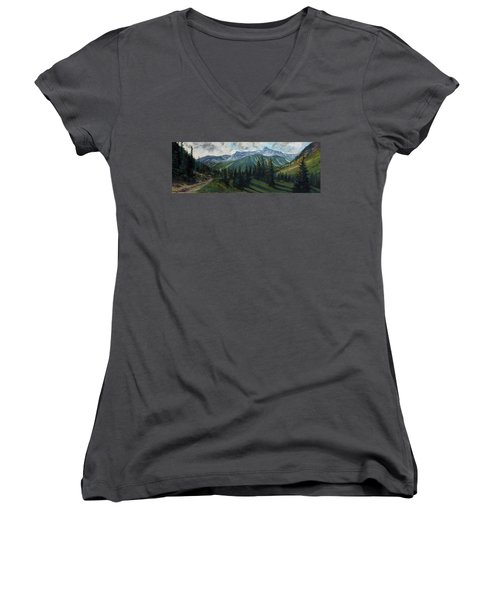 Women's V-Neck T-Shirt (Junior Cut) featuring the painting Yankee Boy Basin by Billie Colson