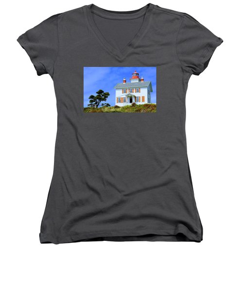 Women's V-Neck T-Shirt featuring the photograph Yaquina Bay Lighthouse by AJ Schibig
