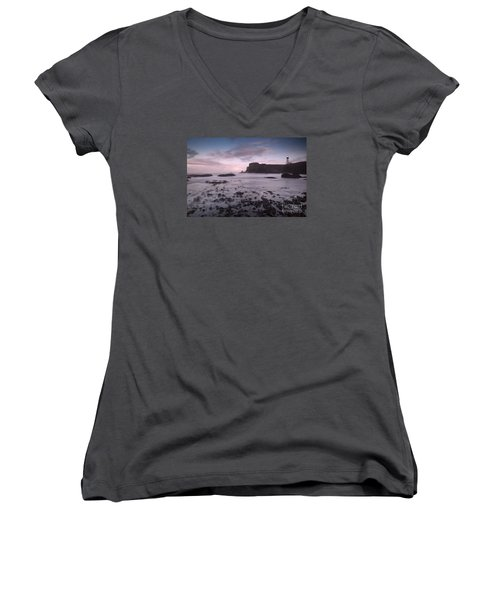 Yaquina Head Lighthouse Women's V-Neck T-Shirt (Junior Cut) by Keith Kapple