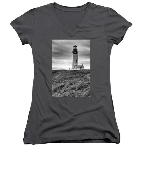 Yaquina Head Lighthouse - Monochrome Women's V-Neck