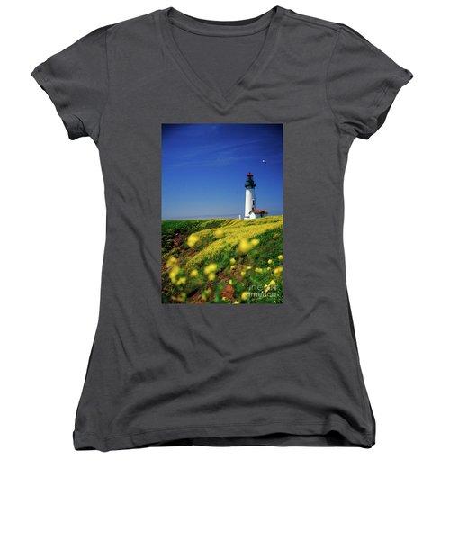 Yaquina Head Lighthouse- V2 Women's V-Neck (Athletic Fit)