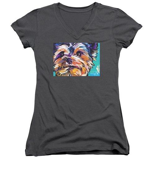 Yay Yorkie  Women's V-Neck T-Shirt