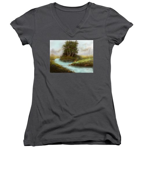 Women's V-Neck T-Shirt (Junior Cut) featuring the painting Yearling by Sena Wilson