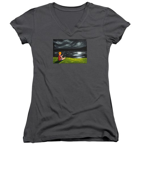 Yel No Catch A Kelpie Wi That Women's V-Neck T-Shirt (Junior Cut)