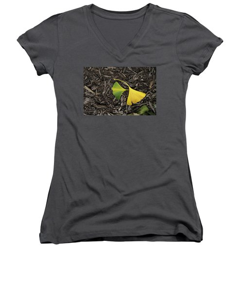 Yellow And Green Gingko Women's V-Neck