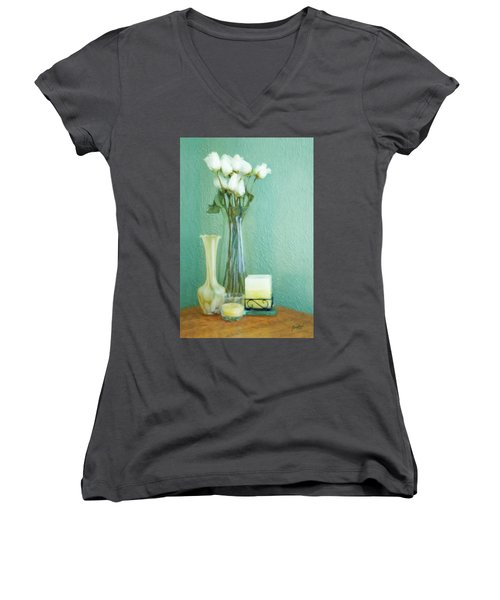 Yellow And Green Women's V-Neck T-Shirt