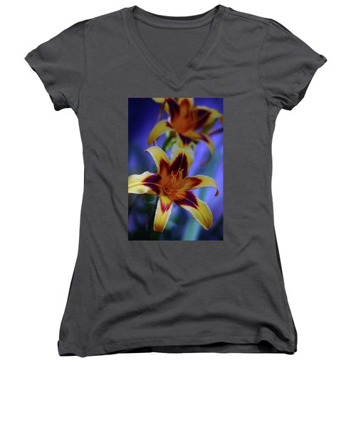 Yellow And Orange And Garnet Daylilies 1270 H_2 Women's V-Neck T-Shirt