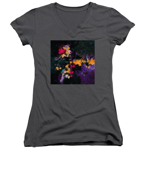 Women's V-Neck T-Shirt (Junior Cut) featuring the painting Yellow And Purple Abstract / Modern Painting by Ayse Deniz