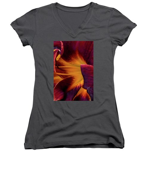 Yellow And Purple Women's V-Neck