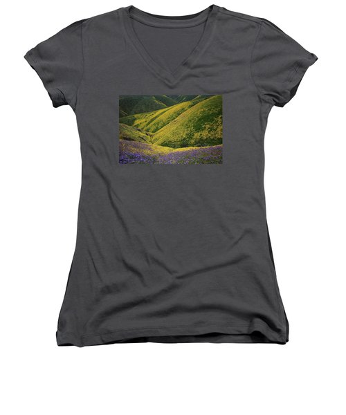 Yellow And Purple Wildlflowers Adourn The Temblor Range At Carrizo Plain National Monument Women's V-Neck (Athletic Fit)
