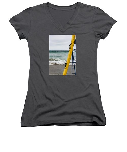 Yellow Surfboard Women's V-Neck (Athletic Fit)