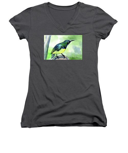 Women's V-Neck T-Shirt featuring the painting Yellow Bellied Sunbird by Dora Hathazi Mendes