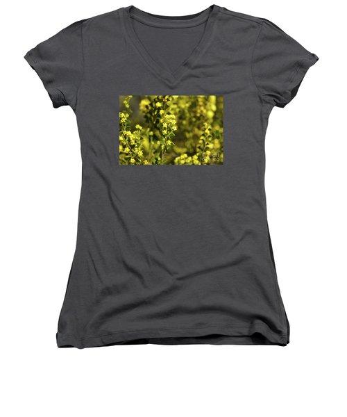 Yellow Blooms Women's V-Neck T-Shirt (Junior Cut) by Cassandra Buckley