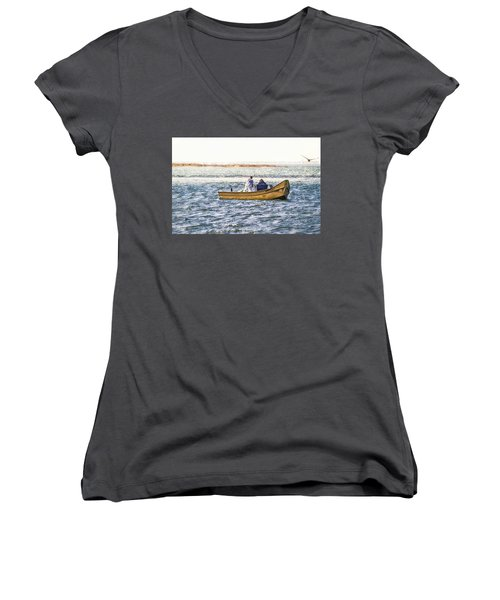 Yellow Boat - Women's V-Neck (Athletic Fit)