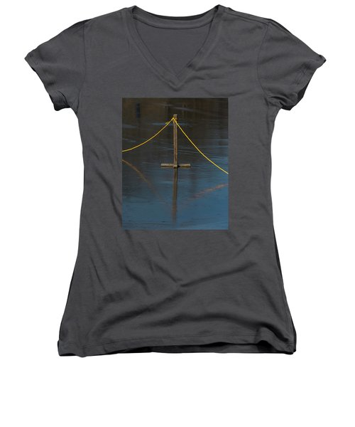 Women's V-Neck T-Shirt featuring the photograph Yellow Boundary On Ice by Gary Slawsky