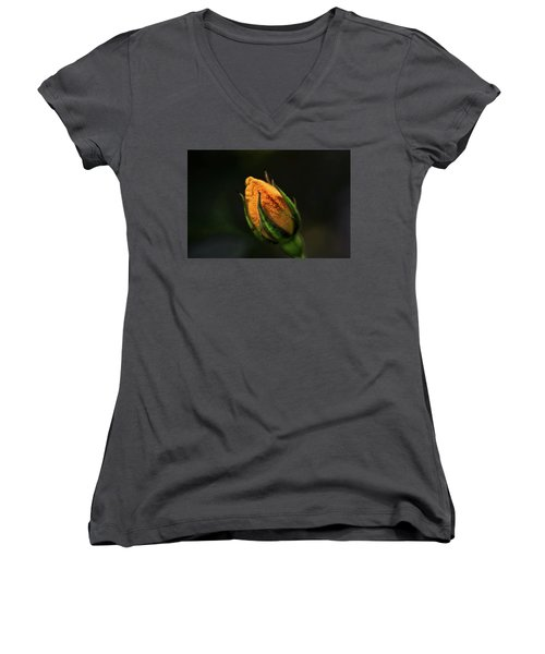 Yellow Bud Women's V-Neck (Athletic Fit)
