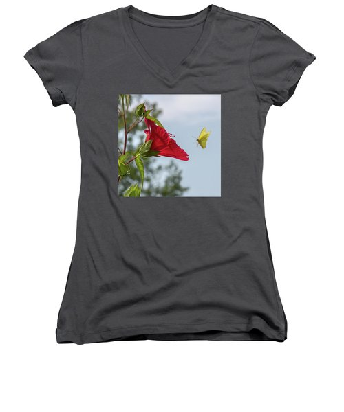 Yellow Butterfly Art Women's V-Neck (Athletic Fit)
